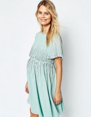 ASOS Maternity Приталенное платье для беременных с пайетками Premium. Цвет: зеленый