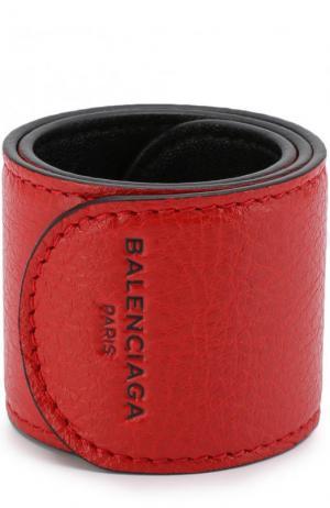 Кожаный браслет Balenciaga. Цвет: красный