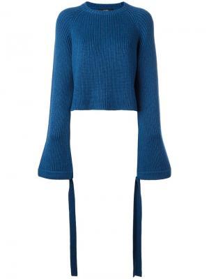 Укороченный джемпер с расклешенными рукавами Ellery. Цвет: синий