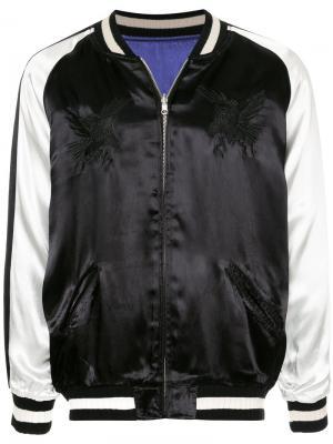 Атласная куртка-бомбер с вышивкой monkey time. Цвет: чёрный