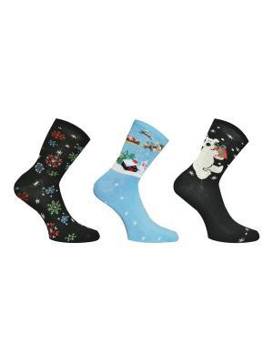 Носки 3 пары Master Socks. Цвет: черный, бирюзовый