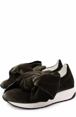 Бархатные кроссовки с бантом Joshua Sanders. Цвет: хаки