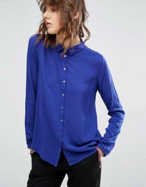 Maison Scotch Мягкая вискозная рубашка с пуговицами в форме звезды. Цвет: синий