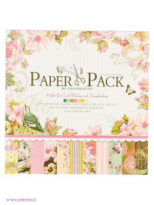 Наборы для скрапбукинга. Набор бумаги Цветы и птицы 30.5см*30.5см (014-SB) Белоснежка. Цвет: белый