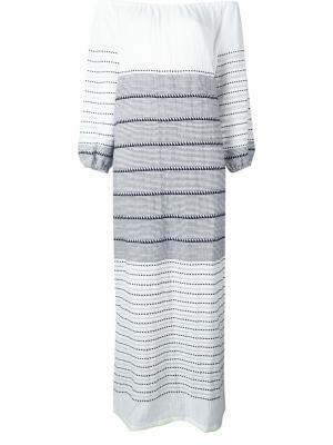 Длинное платье Almaz с открытыми плечами Lemlem. Цвет: белый