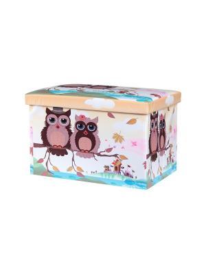 Пуф складной с ящиком для хранения Совята на бежевом EL CASA. Цвет: голубой, бежевый, коричневый