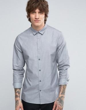Hoxton Shirt Company Рубашка узкого кроя с принтом. Цвет: серый