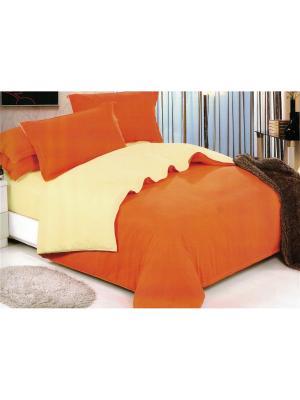 Комплект постельного белья евро Boris. Цвет: оранжевый, кремовый