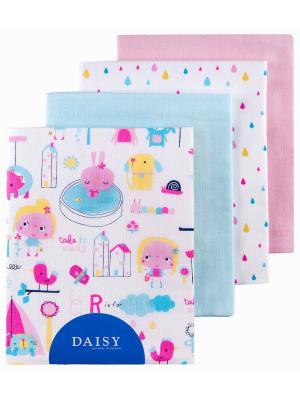 Пеленка Девочки, 4 шт. DAISY. Цвет: светло-голубой, бледно-розовый, лиловый