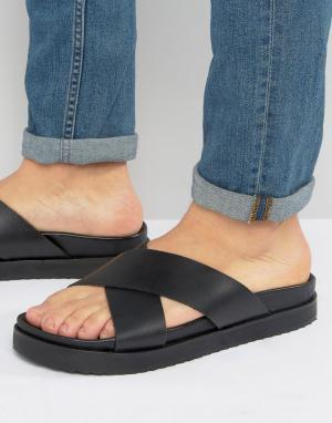 ASOS Черные кожаные сандалии с перекрестными ремешками. Цвет: черный