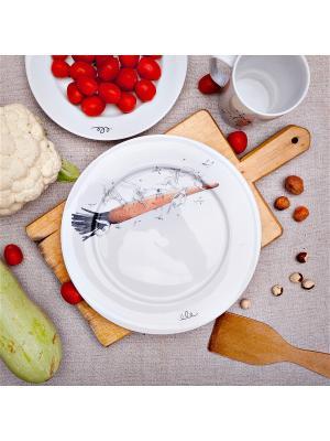 Тарелка 24см, Морковный полет Счастье в мелочах. Цвет: белый