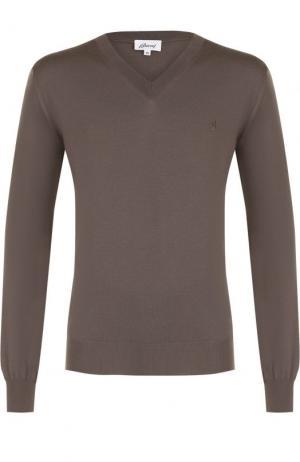 Пуловер из шерсти тонкой вязки Brioni. Цвет: темно-бежевый