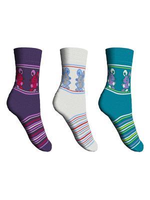 Носки 3 пары Master Socks. Цвет: белый, бирюзовый, сиреневый