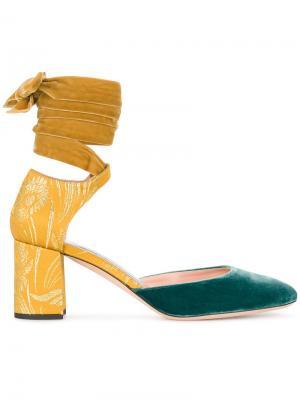Туфли-лодочки с завязкой на щиколотке Rochas. Цвет: жёлтый и оранжевый