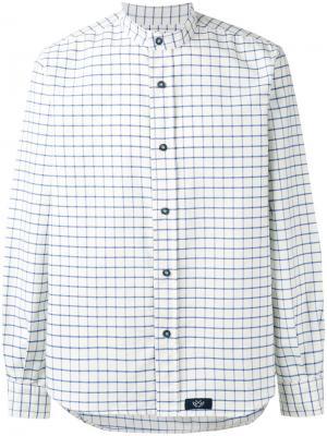 Рубашка в клетку с воротником-мандарин Bleu De Paname. Цвет: белый