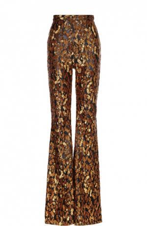 Расклешенные брюки с завышенной талией и вышивкой пайетками Balmain. Цвет: золотой