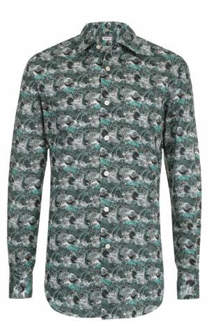 Хлопковая рубашка с принтом Kiton. Цвет: зеленый