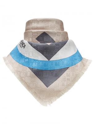 Платок с геометрическим принтом логотипом Fendi. Цвет: телесный