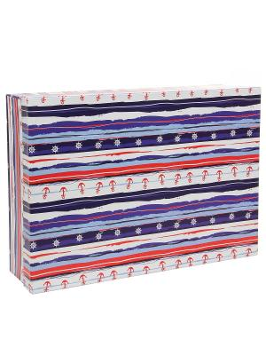 Коробка картонная, набор из 5 шт. 32х20х8 - 40х28х10 см. Морская тематика. VELD-CO. Цвет: лазурный, белый, красный