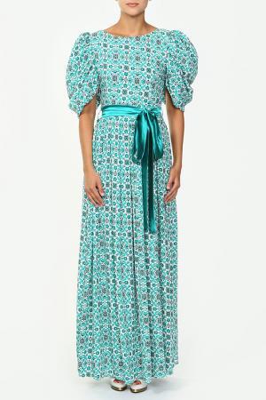 Платье с поясом MODEL TIME. Цвет: бирюзовый