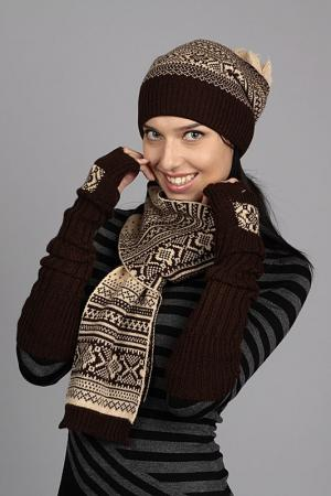 Комплект: шапка, шарф, митенки Marhatter. Цвет: темно-коричневый, бежевый