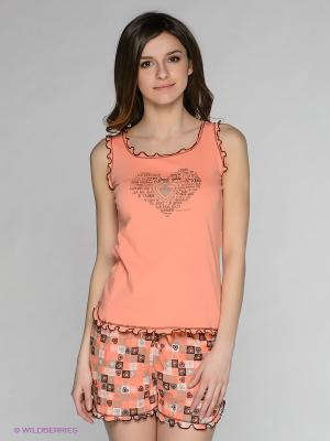 Пижама Vienetta Secret. Цвет: персиковый