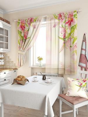 Комплект штор Лили ТОМДОМ. Цвет: розовый, зеленый, бежевый