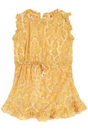 Пляжное мини-платье из хлопка с принтом Zimmermann. Цвет: желтый