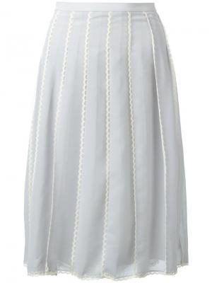 Плиссированная юбка миди Red Valentino. Цвет: серый