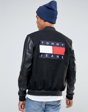 Tommy Jeans Университетская куртка-пилот с рукавами из искусственной кожи Je. Цвет: черный