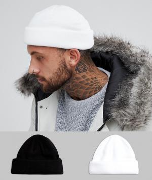 ASOS 2 шапки-бини (черный/белый). Цвет: черный