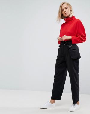 ASOS Черные брюки со съемной сумкой-кошельком на пояс. Цвет: черный