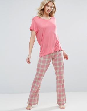 Chelsea Peers Пижамный комплект в клетку. Цвет: розовый