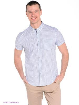 Рубашка Oodji. Цвет: белый, голубой