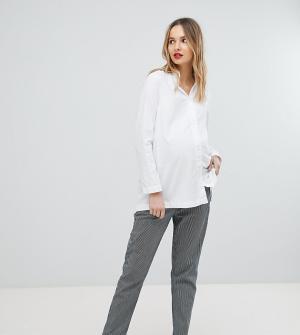 Isabella Oliver Эластичные брюки прямого кроя в полоску. Цвет: синий