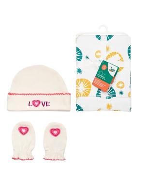 Комплект Салфетки для кормления, 2 шт + Шапочка и рукавички-антицарапки, пр. HappyBabyDays. Цвет: бежевый, желтый