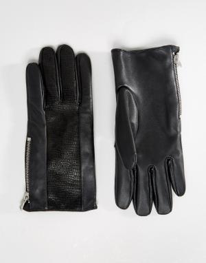 ASOS Черные кожаные перчатки с отделкой. Цвет: черный