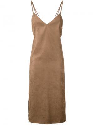 Платье с бретельками крест-накрест Cityshop. Цвет: коричневый