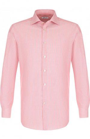 Рубашка из смеси хлопка и льна Kiton. Цвет: красный