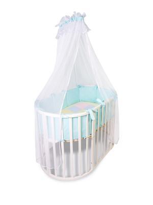 Комплект в круглую кроватку Африка 2 предмета Сонный гномик. Цвет: голубой