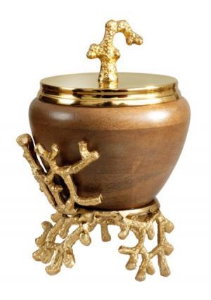 Декоративная емкость Heine Home. Цвет: золотистый/темно-коричневый