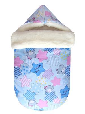 Конверт на овчине JustCute Звездный голубой (зима) СуперМаМкет. Цвет: голубой