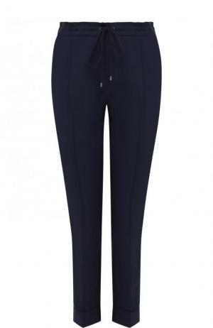 Укороченные однотонные брюки из смеси хлопка и льна Kenzo. Цвет: синий