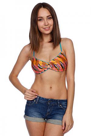 Бюстгальтер женский  Cross Bikini Top Coral Stussy. Цвет: розовый,коричневый