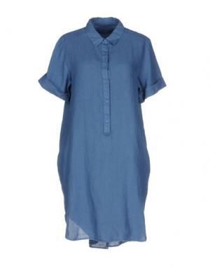 Короткое платье 120% LINO. Цвет: грифельно-синий