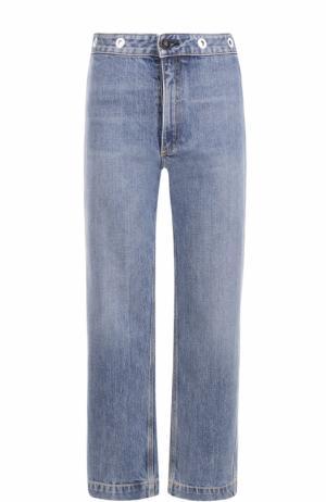 Укороченные джинсы прямого кроя с потертостями Rag&Bone. Цвет: голубой