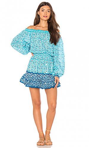 Платье с открытыми плечами st tropez juliet dunn. Цвет: синий