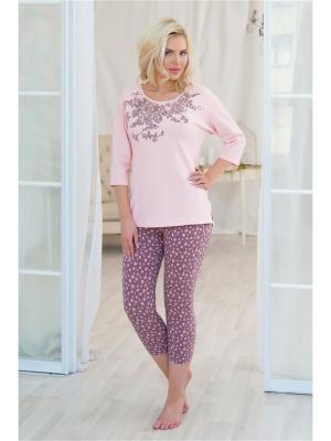 Домашний костюм Mia Cara. Цвет: розовый, светло-коричневый