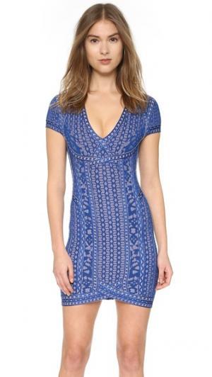 Платье Mona Herve Leger. Цвет: ляпис-лазурит