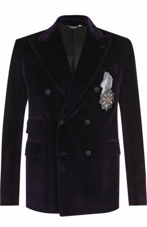 Двубортный пиджак из смеси хлопка и шелка Dolce & Gabbana. Цвет: фиолетовый